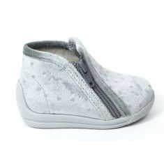 Bellamy chaussons fille gris brillant à fermeture KIF