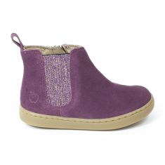 Shoopom Bottines fille PLAY SHINE ELAST velours glitter purple
