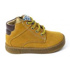 Babybotte Boots camel en cuir à lacets et fermeture garçon ANTOINE