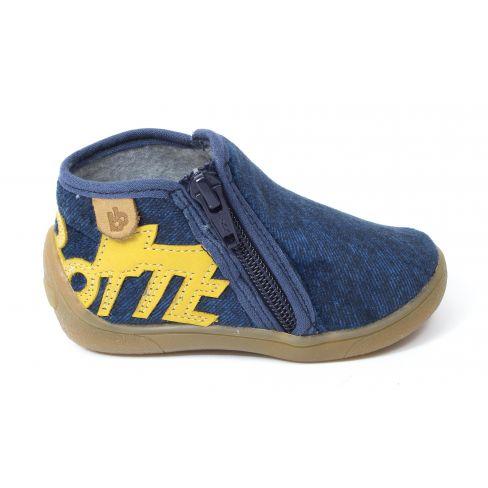 Babybotte Chaussons gaçon tissu MALABAR bleu jeans semelle cuir