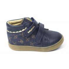 Babybotte Boots en cuir premiers pas fille ALEAU bleu marine