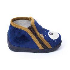 Bellamy chaussons garçon bleu avec motif chien à fermeture KOUAK