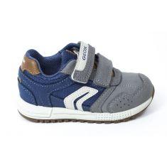 GEOX Sneakers Baskets B ALBEN BOY avio gris à scratchs