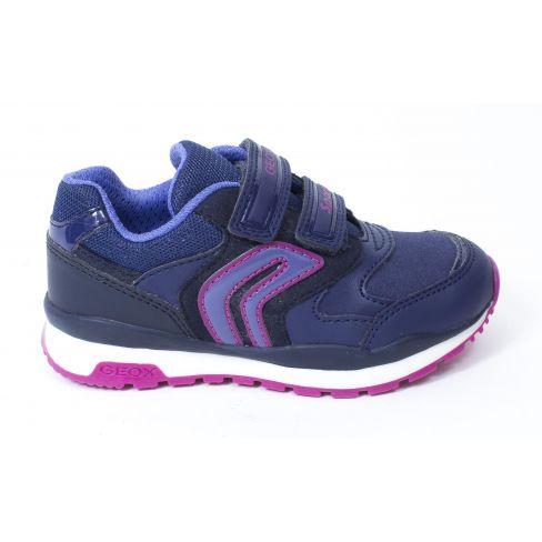 Geox Baskets Sneakers J PAVEL fille à scratch bleu marine/violet