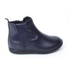 Kickers Boots fille en cuir VERMILLON bleu marine metallisé