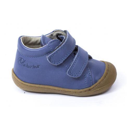 Naturino COCOON 1er pas Chaussures bébé souple garçon bleu céleste à scratch en cuir