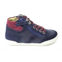 Kickers Sneakers garçon à lacet et fermeture JAKE bleu marine