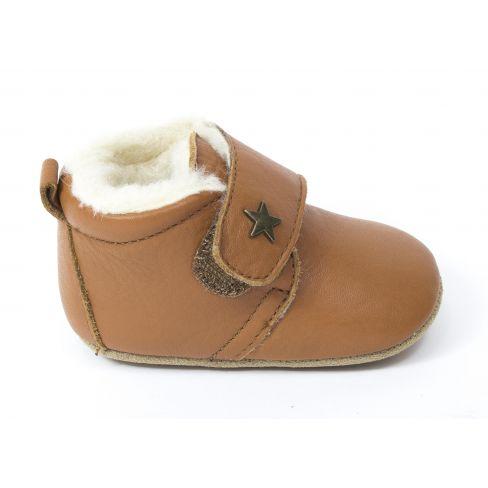 Bisgaard Baby star chausson en cuir fourré laine bébé garçon Cognac  à scratch
