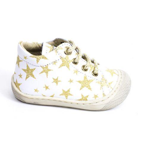 Naturino COCOON Chaussures bébé premiers pas souple fille en cuir blanc étoiles dorées