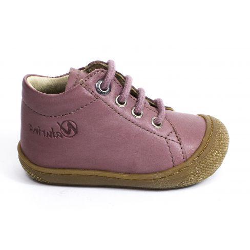 Naturino COCOON Chaussures bébé premiers pas souple fille en cuir rose nude