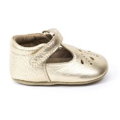Bisgaard chaussure en cuir bébé fille babies prewalker à scratch or