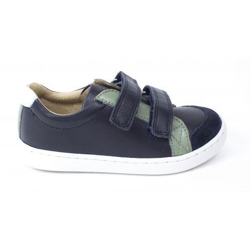 Sneakers SHOO POM à scratch bleu marine et vert PLAY SCRATCH