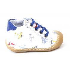 Bellamy Boots bébé garçon 1er pas souple blanc à lacets ELIOT