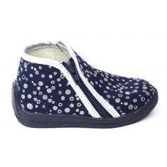 Bellamy chaussons fille bleu marine brillant à fermeture JEMINA