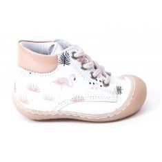 Bellamy Boots bébé souple 1er pas blanc motif flamand à lacet ECRI