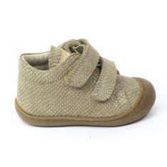 Naturino COCOON Chaussures bébé premiers pas souple fille en cuir doré mat