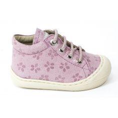 Naturino COCOON Chaussures bébé lacet 1er pas souple fille en nubuck glitter rose nude