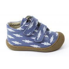 Naturino COCOON bleu Chaussures bébé à lacet 1er pas souple garçon en cuir motif crocodile