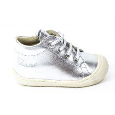 Naturino COCOON Chaussures bébé à lacet premiers pas souple fille argent en cuir