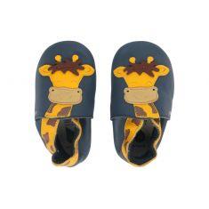 Chaussons garçon Bébé Soft Soles en cuir bleu motif girafe