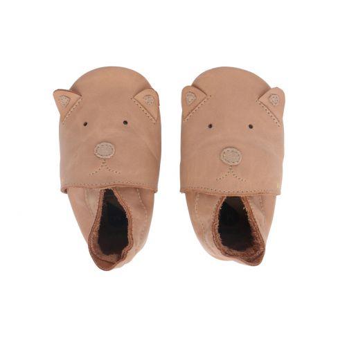 Chaussons Bébé Soft Soles en cuir motif ours cuir beige naturel
