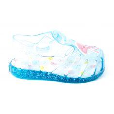 Sandales de plage fille  bleu turquoise attache pression JALNA 59210