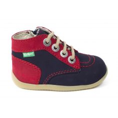 Kickers Bottillon BONZIP à fermeture bleu marine rouge