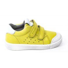 Froddo - Baskets basse cuir garçon jaune  à scratchs