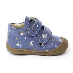 Naturino COCOON bleu Chaussures bébé à lacet 1er pas souple garçon en cuir motif footballeur