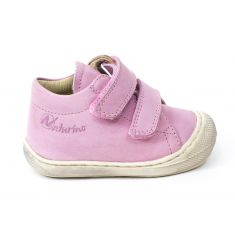 Naturino COCOON Chaussures bébé premiers pas souple fille en cuir rose beige à scratchs