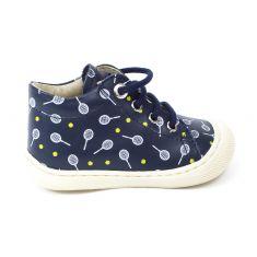 Naturino COCOON bleu marine Chaussures bébé à lacet 1er pas souple garçon en cuir motif tennisman