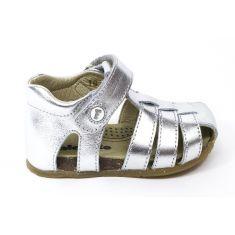 FALCOTTO Naturino sandales bébé argent à scratch premiers pas fille en cuir
