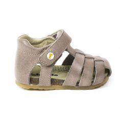 FALCOTTO Naturino sandales bébé tortora fermées à scratch premiers pas souple garçon en cuir
