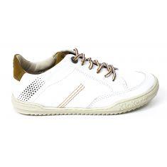 Kickers sneakers fille en cuir JOUA blanc camel
