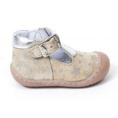 Bellamy Boots ouvertes 1er pas souple à boucle bébé fille ELSA rose poudré