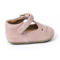 Bisgaard chaussure en cuir bébé fille babies prewalker à scratch rose pêche