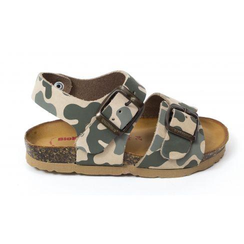 BIONATURA sandales garçon en cuir motif army beige vert 22 B 1002