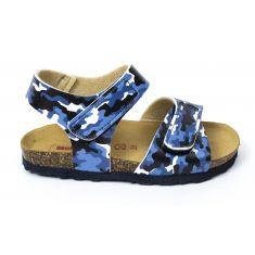 BIONATURA sandales garçon à scratch motif army bleu 22 B 1019