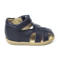 Sandales cuir SHOO POM à scratch bleu marine PIKA BE BOY semelle souple