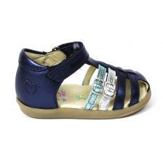 Sandales fille fermées devant SHOOPOM à scratch bleu PIKA SPART