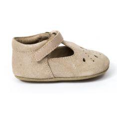 Bisgaard chaussure en cuir bébé fille babies prewalker à scratch rose glitter