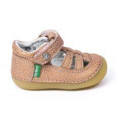 Kickers sandales/salomé 1er pas SUSHY rose leopard