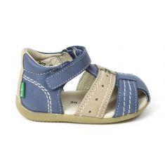 Kickers cuir sandale garçon BIGBAZAR bleu gris