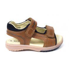 Kickers sandale cuir garçon PLATINO camel