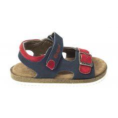 Sandales KICKERS cuir garçon FUNKYO bleu marine et rouge