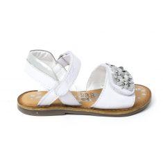Kickers sandale cuir fille DIAGGO blanc argent