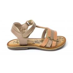 Kickers sandale fille DIAMANTO orange rose metallise