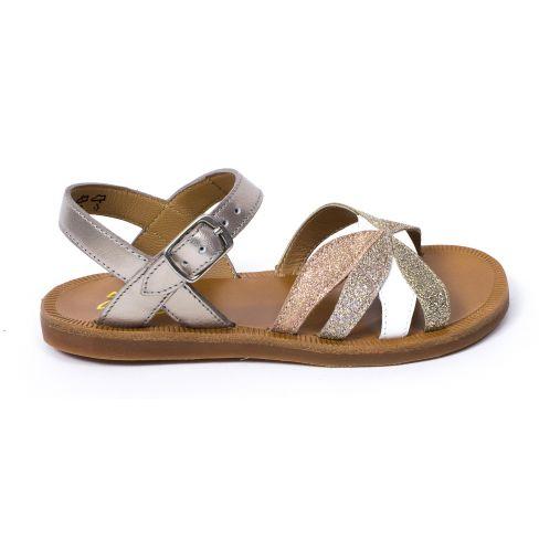 Sandale Plagette Sandales fille POM D'API REVERSE or glitter