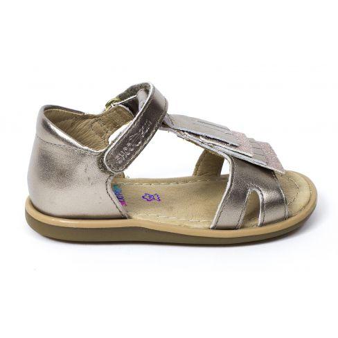 Sandales SHOO POM à scratch bronze TITY FRINGE maintien avec contrefort