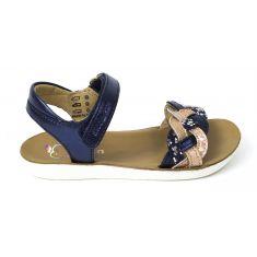 Sandales fille SHOO POM à scratch bleu et or GOA WOWO